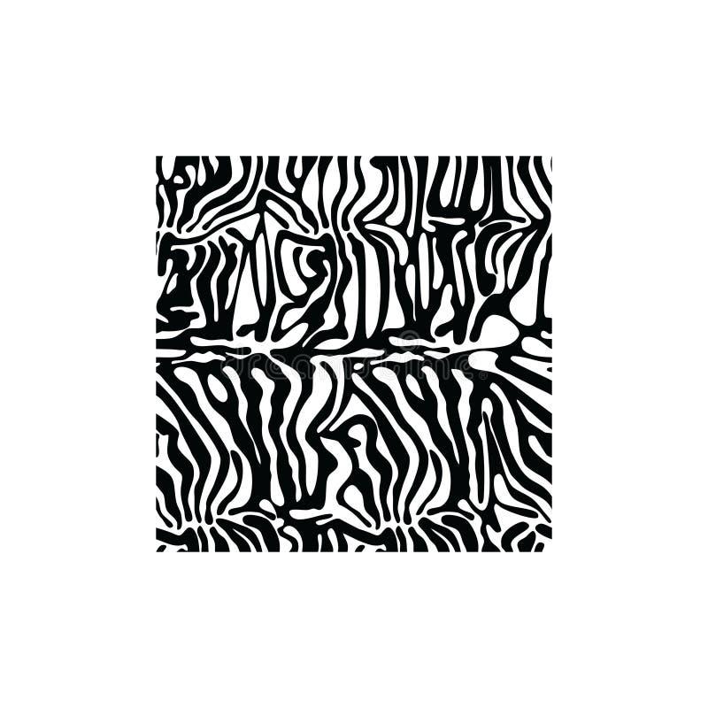 Вектор стиля ткани текстуры зебры квадратный для татуировки, футболок, логотипа иллюстрация штока