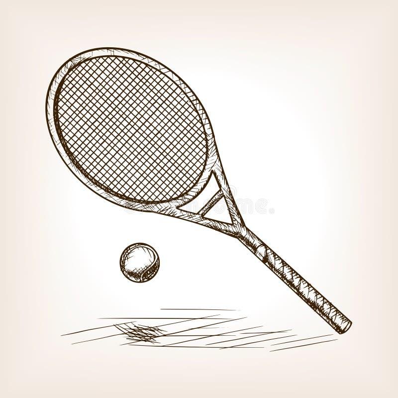 Вектор стиля эскиза тенниса нарисованный рукой бесплатная иллюстрация