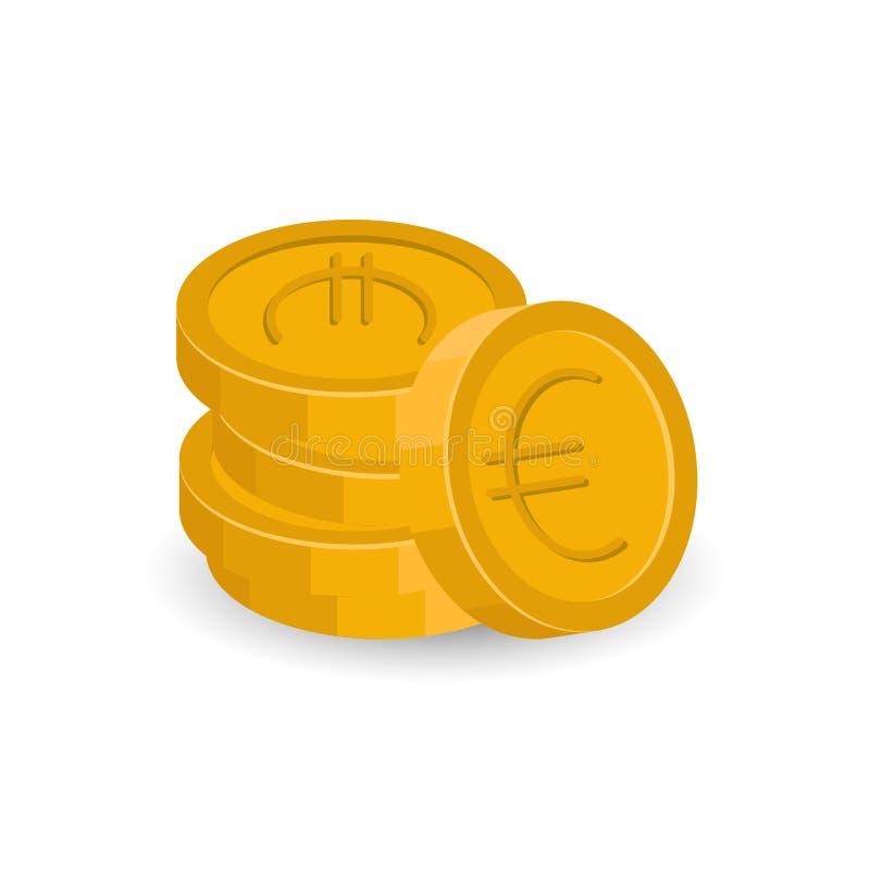 Вектор стога монеток евро бесплатная иллюстрация