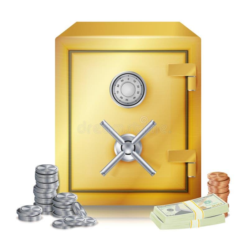 Вектор стогов сейфа и денег монетки металла Иллюстрация изолированная вектором иллюстрация штока