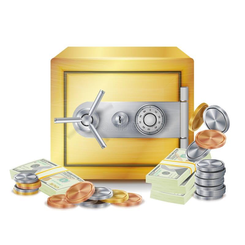 Вектор стогов сейфа и денег Сейф, монетки и стога банкнот доллара изолировали иллюстрацию Концепция банка финансов бесплатная иллюстрация