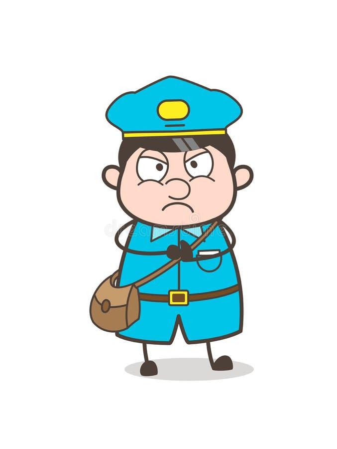 Вектор стороны взрослого характера почтальона сердитый иллюстрация штока