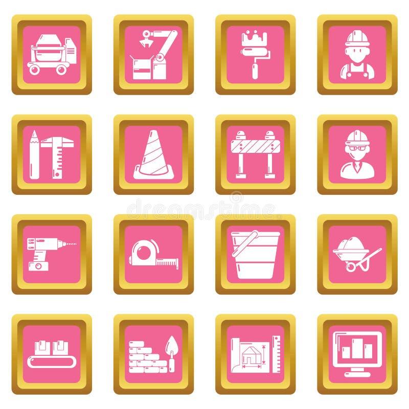 Вектор строительного процесса установленный значками розовый квадратный бесплатная иллюстрация