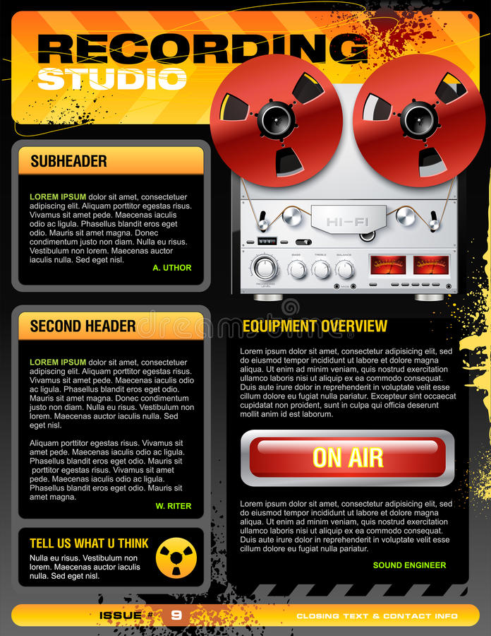 вектор студии звука записи рогульки брошюры иллюстрация штока