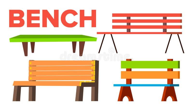 Вектор Суда установленный Классическая деревянная скамейка в парке для взрослого и детей типы Объект на открытом воздухе городско бесплатная иллюстрация
