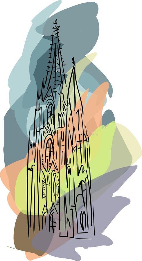 Вектор с готическим собором бесплатная иллюстрация