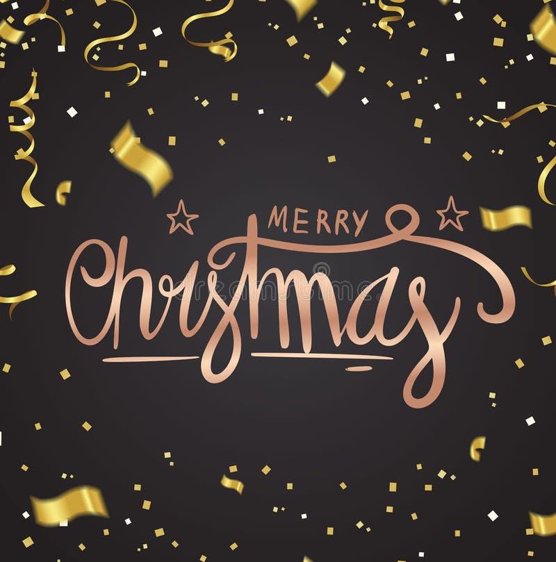 Вектор текста веселого рождества на предпосылке Помечать буквами для invitat иллюстрация штока