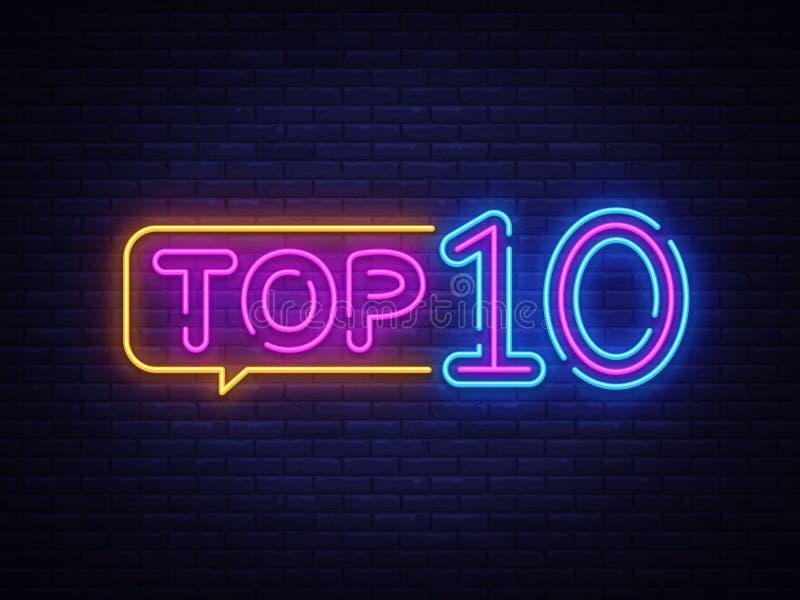 Вектор текста 10 лучших неоновый Неоновая вывеска первой десятки, шаблон дизайна, современный дизайн тенденции, шильдик ночи неон иллюстрация штока