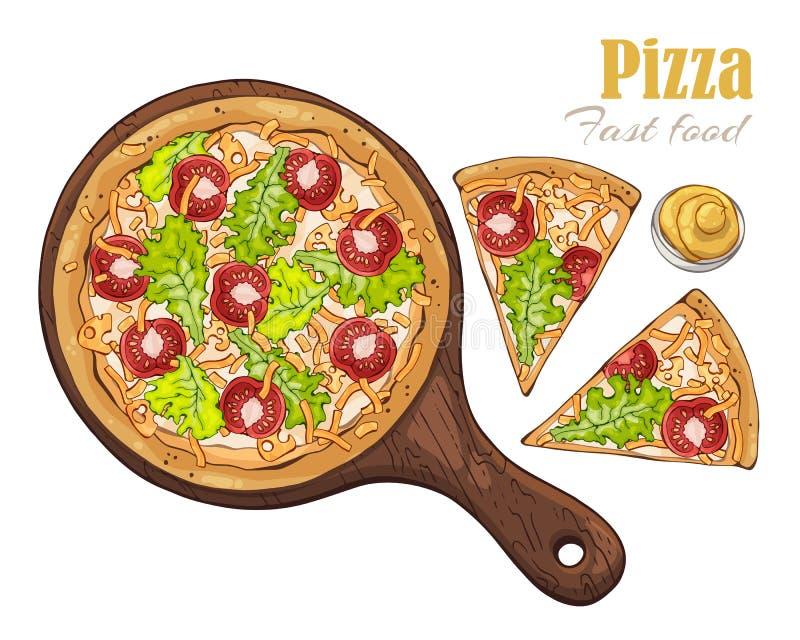 вектор Тема фаст-фуда: пицца на доске иллюстрация штока