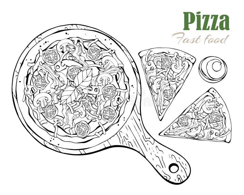 вектор Тема фаст-фуда: пицца на доске иллюстрация вектора