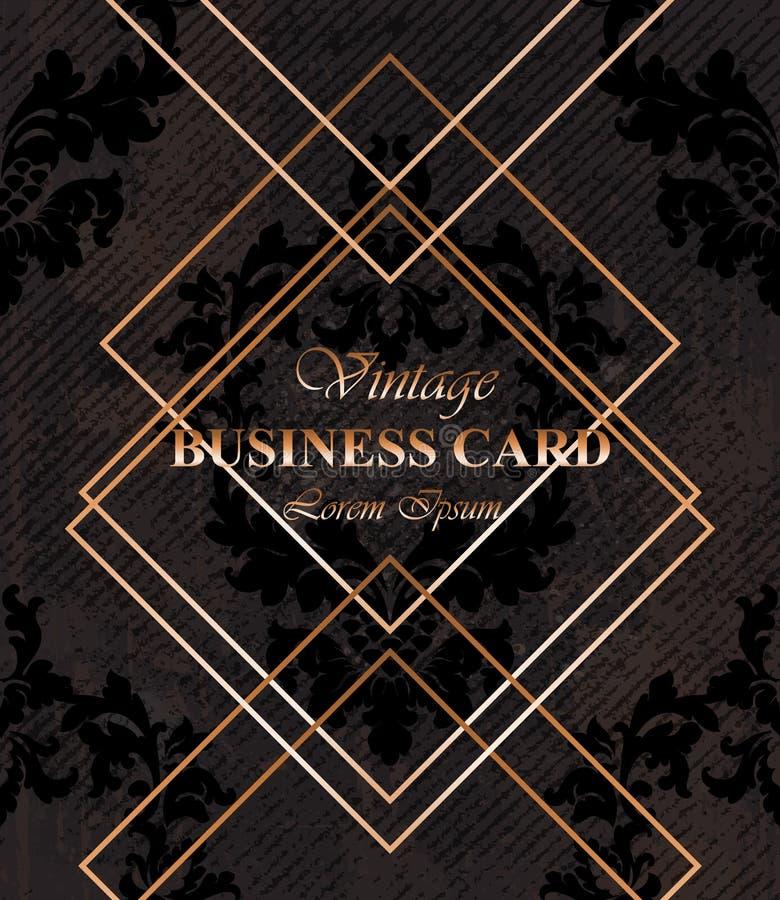 Вектор темного цвета предпосылки визитной карточки Золотые рамки над классической барочной картиной орнамента Роскошные оформлени иллюстрация вектора