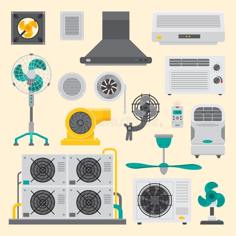 Вектор температуры технологии вентилятора климата вентилятора оборудования систем воздушного шлюза кондиционера воздуха подготовл бесплатная иллюстрация