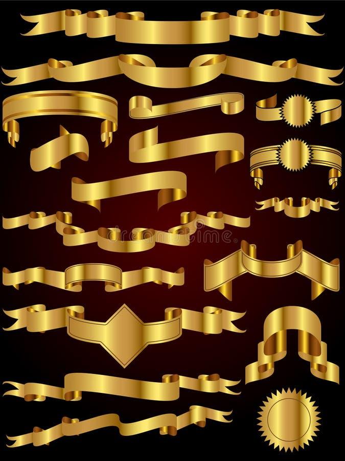 вектор тесемки золота собрания иллюстрация вектора