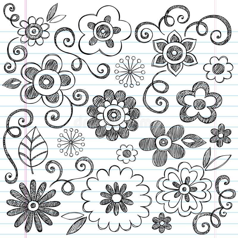 вектор тетради цветков doodles установленный схематичный иллюстрация штока