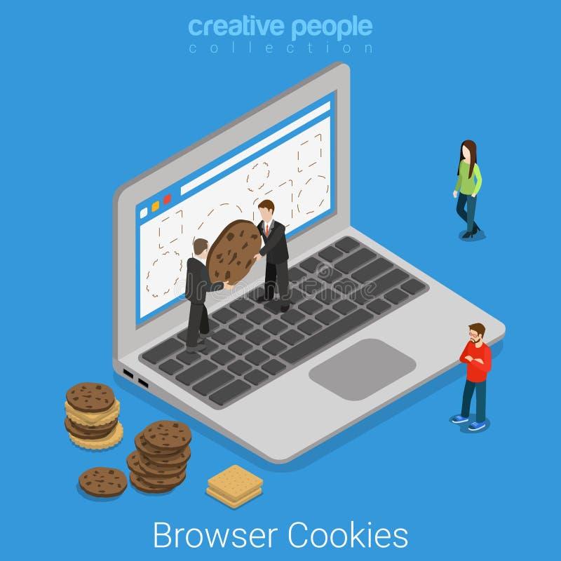 Вектор технологии интернета печенья браузера компьтер-книжки плоский равновеликий иллюстрация вектора