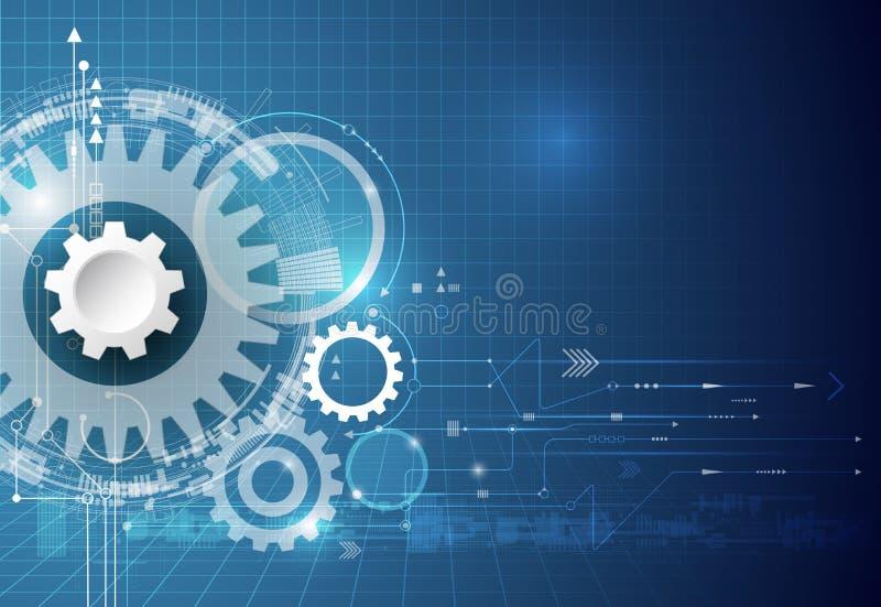 вектор технологии иллюстрации eps 10 предпосылок колесо шестерни иллюстрации, шестиугольники и монтажная плата, инженерство техно бесплатная иллюстрация