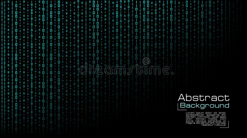 Вектор течь голубой бинарный код на черной предпосылке иллюстрация вектора