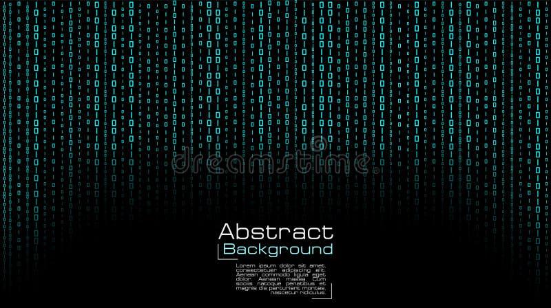 Вектор течь голубой бинарный код на черной предпосылке бесплатная иллюстрация