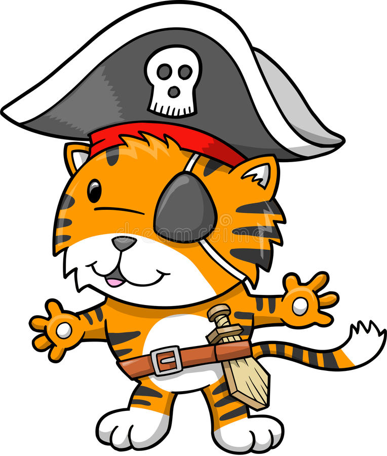 вектор тигра пирата иллюстрации бесплатная иллюстрация