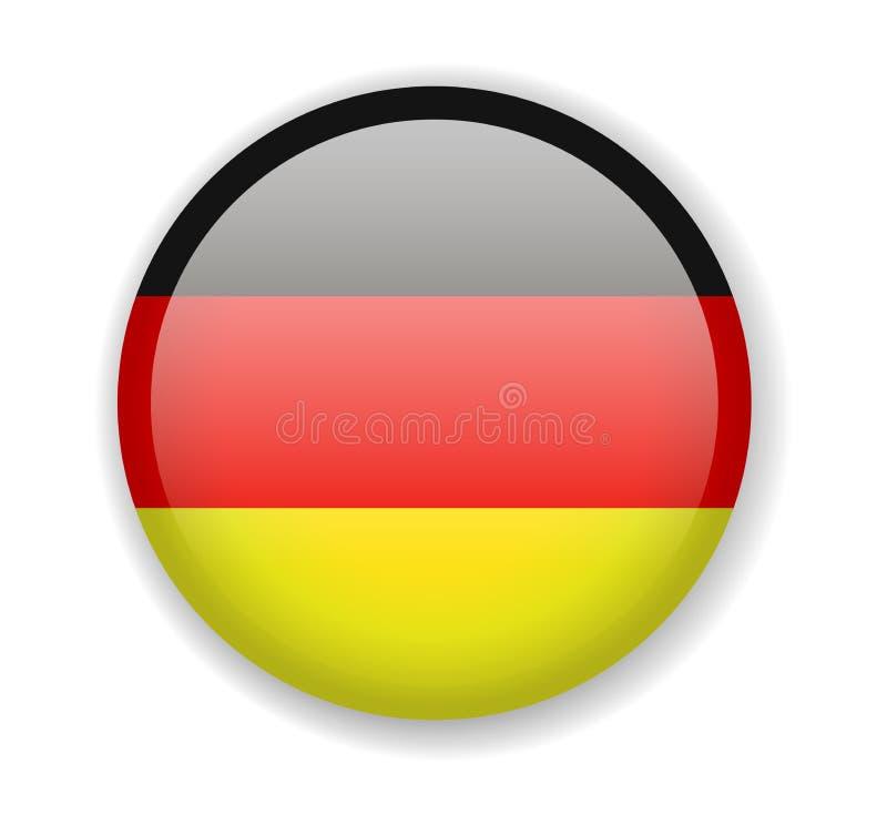 вектор типа Германии имеющегося флага стеклянный Круглый яркий значок на белой предпосылке иллюстрация вектора