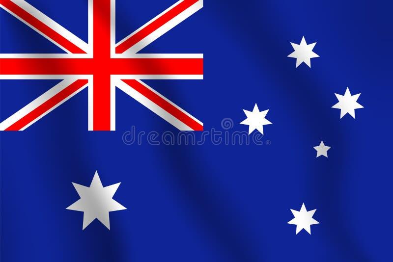 вектор типа имеющегося флага Австралии стеклянный Реалистический флаг иллюстрации вектора Национальное sym бесплатная иллюстрация