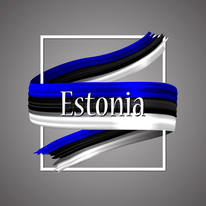 вектор типа имеющегося флага эстонии стеклянный Официальные национальные цвета Эстонская реалистическая лента 3d Знак нашивки фла иллюстрация вектора
