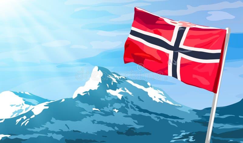 вектор типа Норвегии имеющегося флага стеклянный иллюстрация вектора