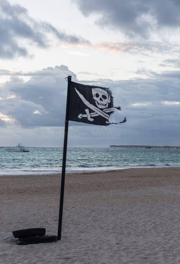 вектор типа пирата имеющегося флага стеклянный стоковая фотография