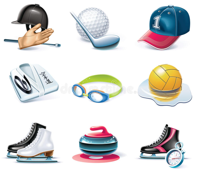 вектор типа спорта части иконы 37 шаржей установленный бесплатная иллюстрация