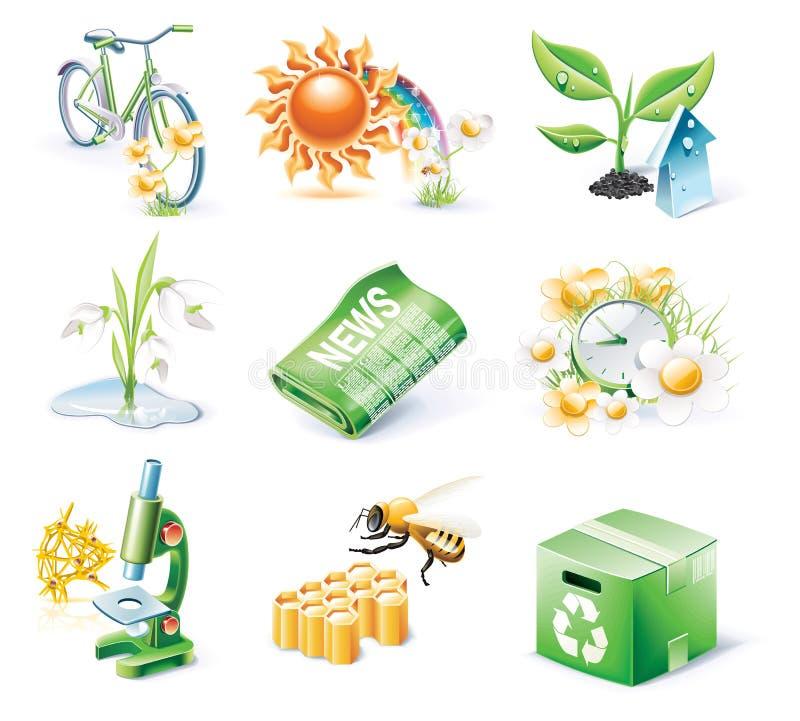 вектор типа части иконы экологичности 21 шаржа установленный иллюстрация вектора