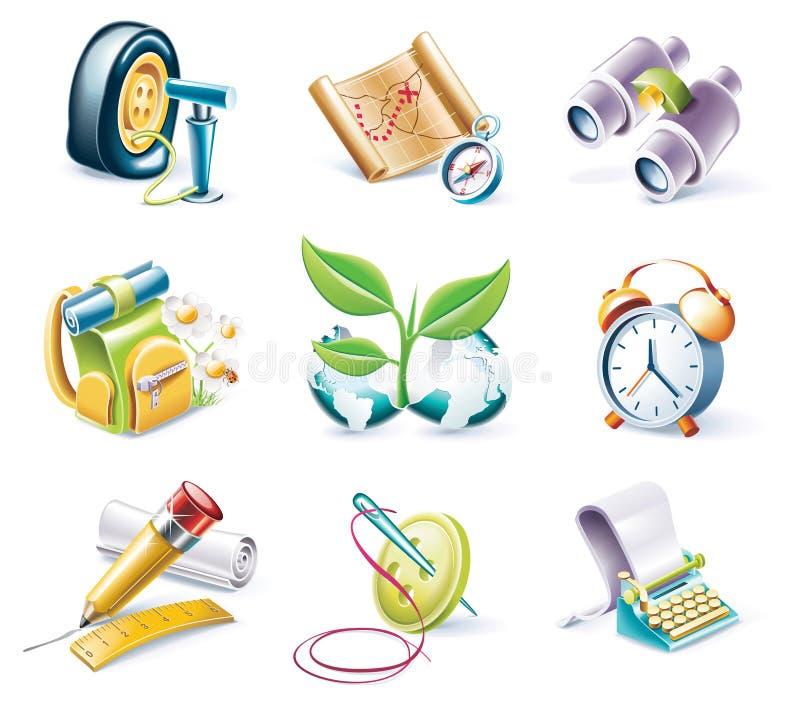 вектор типа части иконы 10 шаржей установленный иллюстрация штока