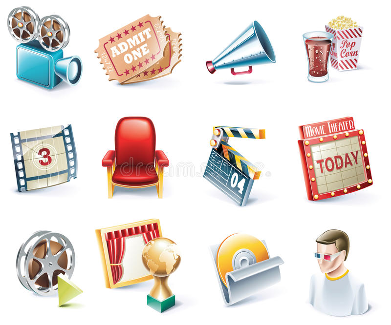 вектор типа части кино иконы 32 шаржей установленный иллюстрация штока