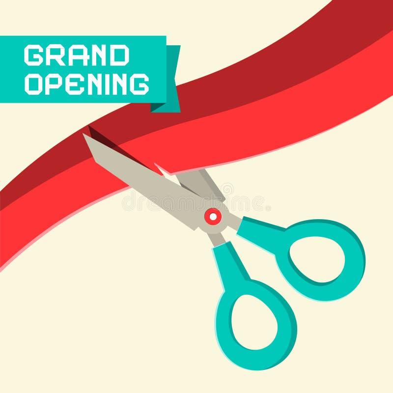 Вектор торжественного открытия с ножницами бесплатная иллюстрация