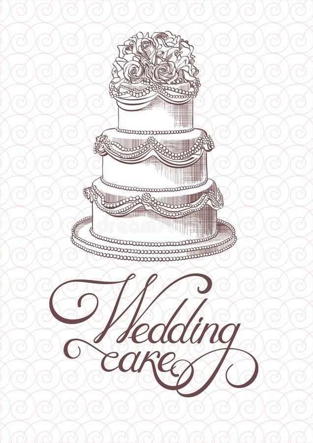 Вектор торта свадьбы винтажный стоковые изображения rf