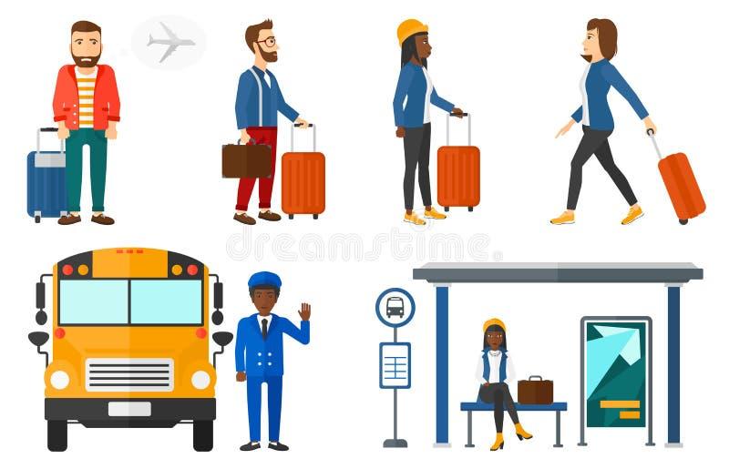 Вектор транспорта установленный с путешествовать людей иллюстрация вектора