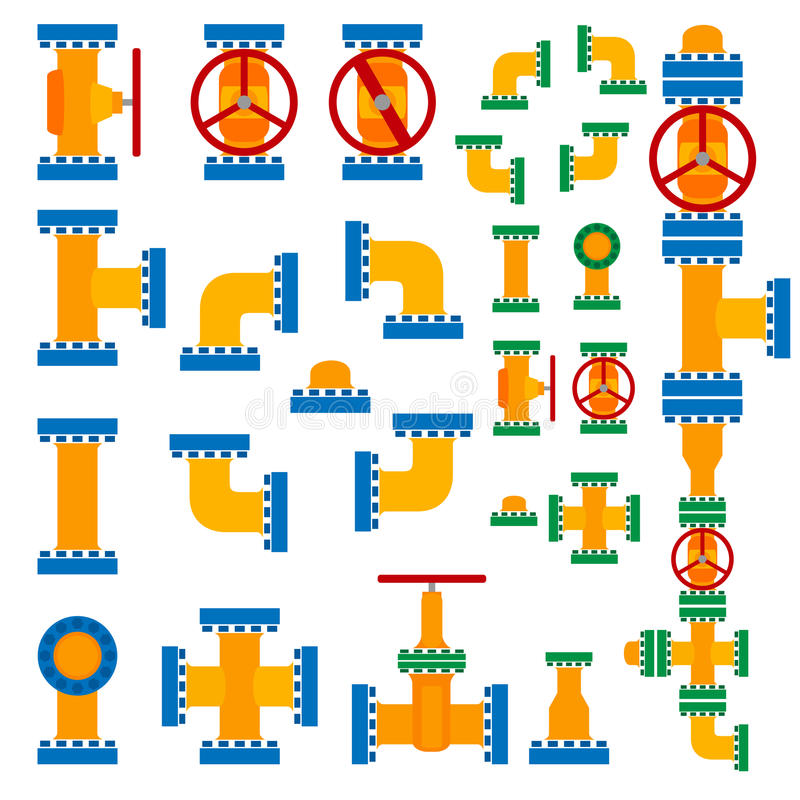 вектор трубопровода иллюстрации элементов установленный иллюстрация штока