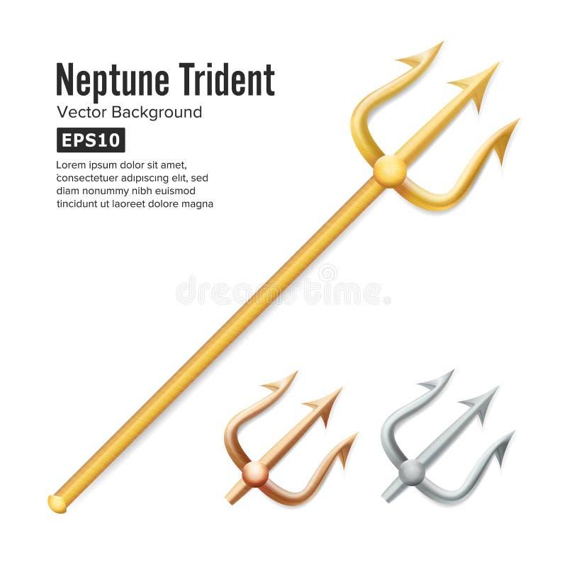 Вектор трёхзубца Нептуна Реалистический силуэт 3D оружия Poseidon бронзовый серебр золота Объект вилки вилы острый иллюстрация вектора