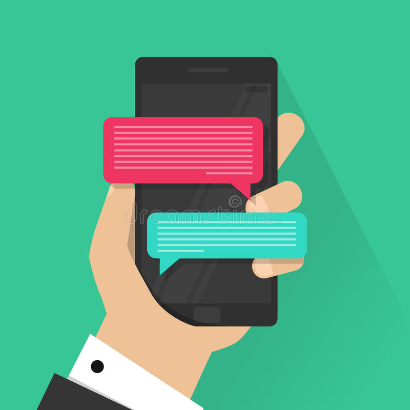Вектор уведомлений сообщения болтовни мобильного телефона изолированный на предпосылке цвета, руке с smartphone и беседуя пузыре иллюстрация вектора