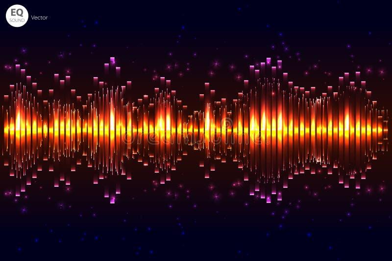 Вектор удара музыки Предпосылка зеленых светов абстрактный выравниватель Звуковая война Тональнозвуковая технология выравнивателя иллюстрация вектора