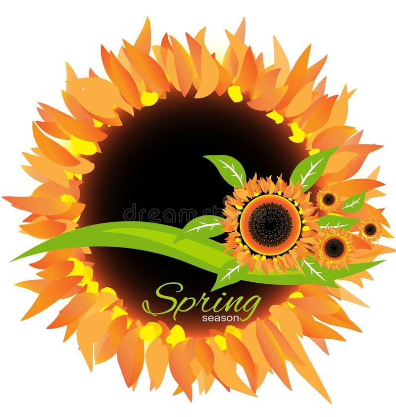 Вектор украшения значка весеннего сезона солнцецвета иллюстрация вектора