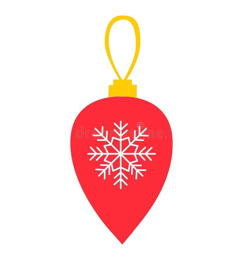 Вектор украшения шарика и Нового Года рождества красный плоско изолированный на белизне бесплатная иллюстрация