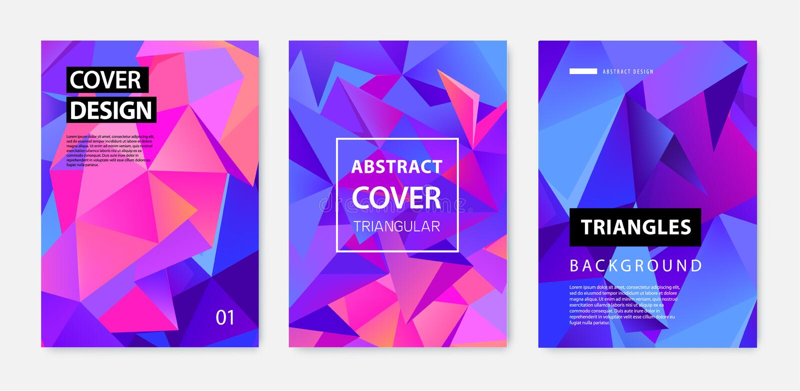 Вектор установил абстрактных геометрических крышек, знамен, плакатов, летчиков, брошюр E дизайн шаблона a4 иллюстрация штока