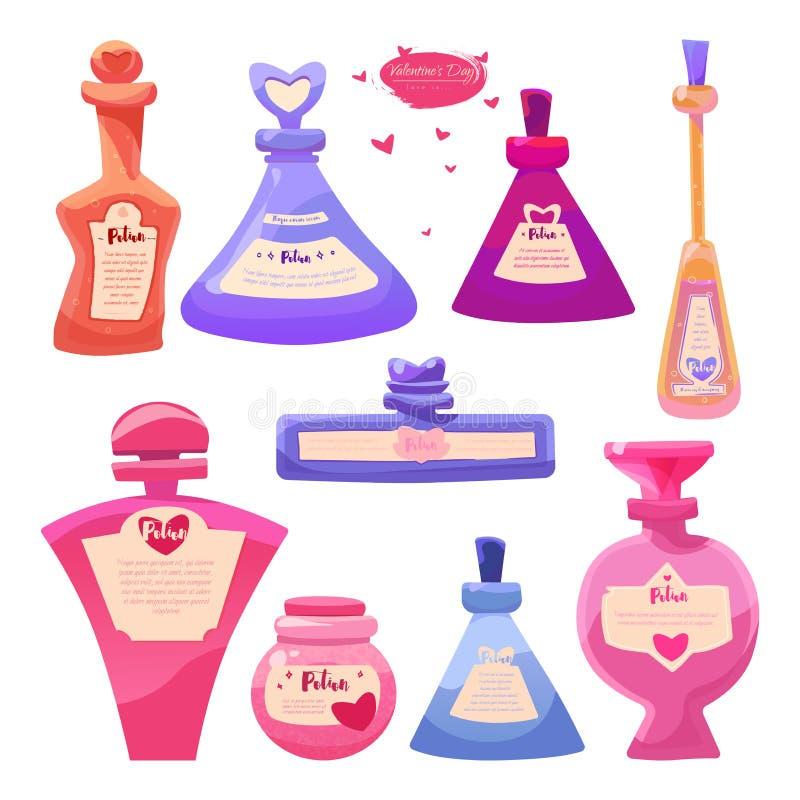 Вектор установил бутылки деталей дня Валентайн волшебного зелья любов иллюстрация вектора