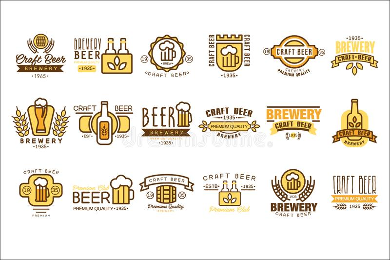 Вектор установил винтажных шаблонов логотипов пива Первоначальные линейные эмблемы с красочным заполнением Символы компании завар бесплатная иллюстрация