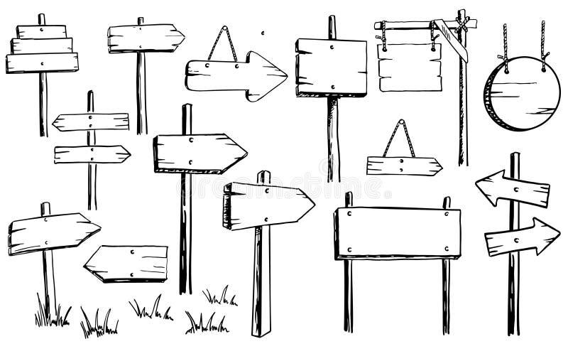 Вектор установил деревянных знаков Шильдики указателей стрелок иллюстрация вектора