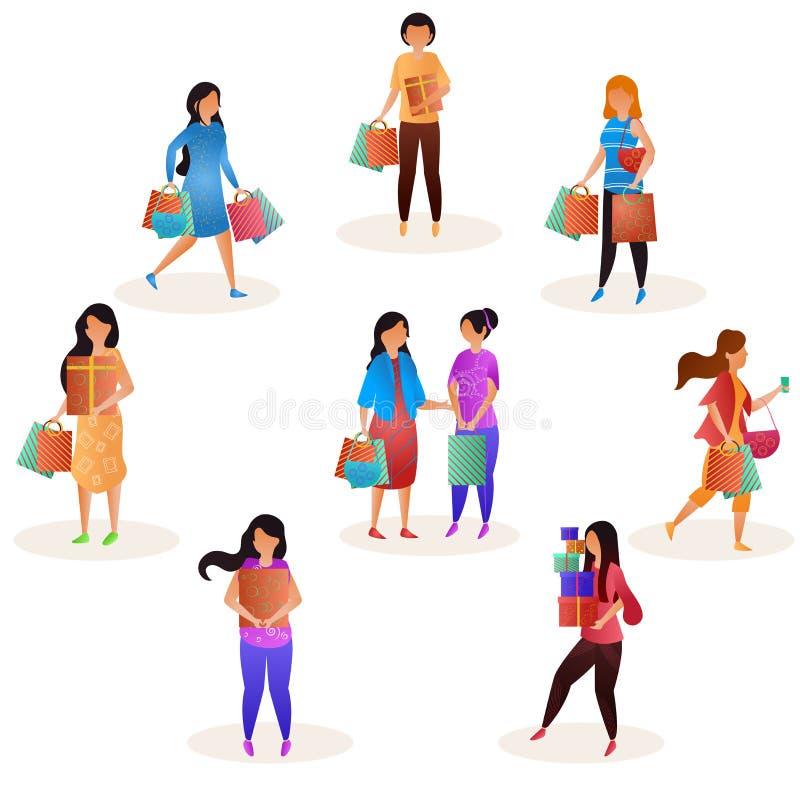 Вектор установил женских покупателей держа хозяйственные сумки для сезонной ходя по магазинам продажи иллюстрация вектора