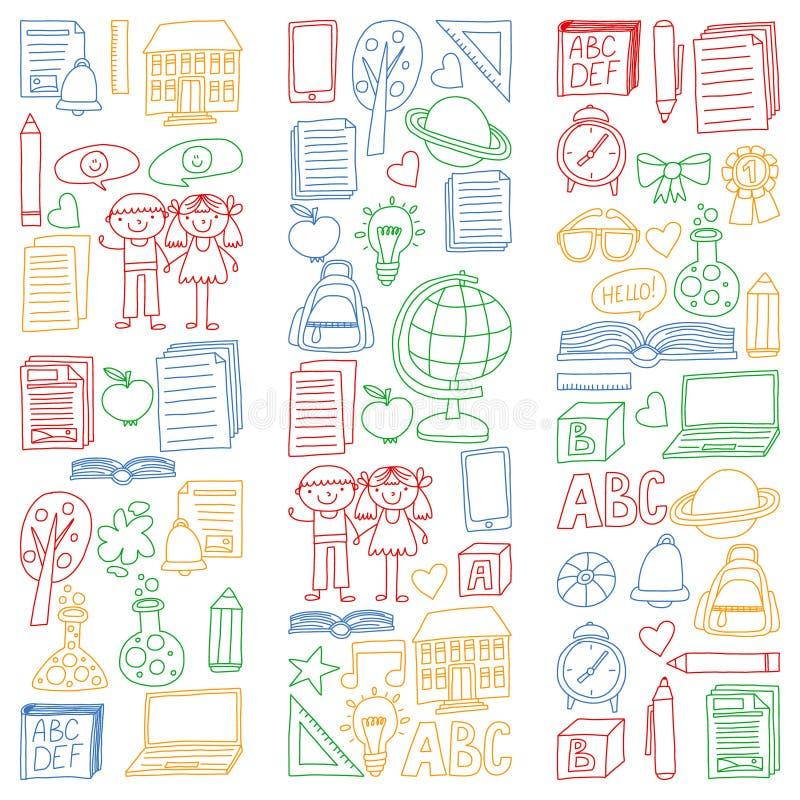 Вектор установил задней части для того чтобы обучить значки в стиле doodle Покрашенный, красочный, изображения на куске бумаги на иллюстрация вектора