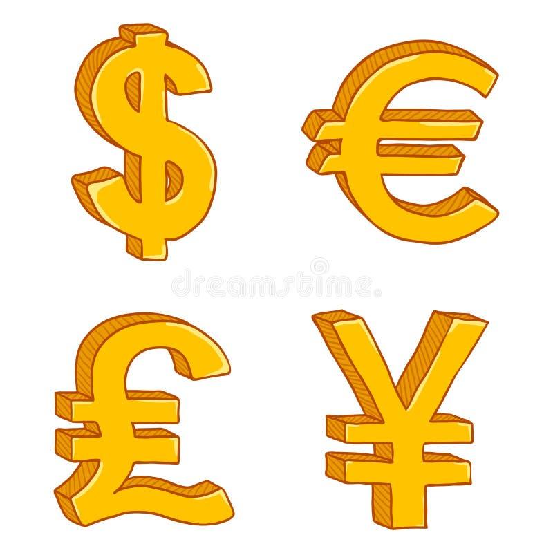 Вектор установил знаков валюты золота мультфильма Доллар, евро, английский фунт и японские иены иллюстрация штока