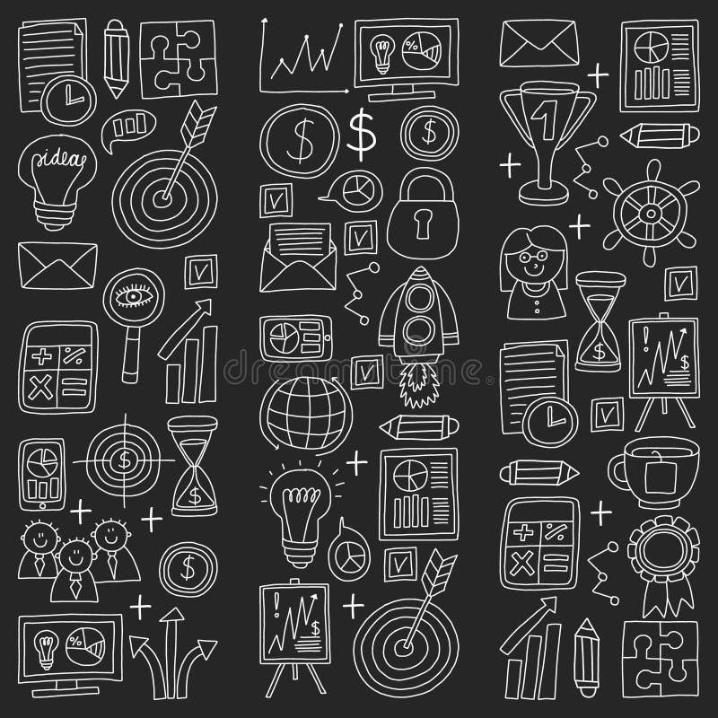 Вектор установил значков дела в меле стиля doodle на черной предпосылке бесплатная иллюстрация