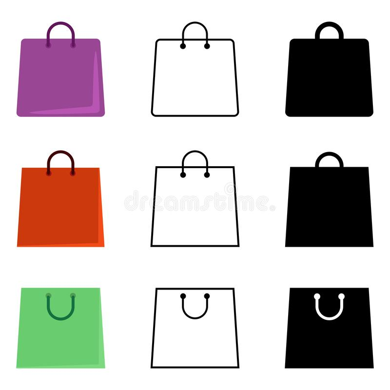 Вектор установил значков хозяйственной сумки Плоско, план и пиктограмма силуэта иллюстрация штока